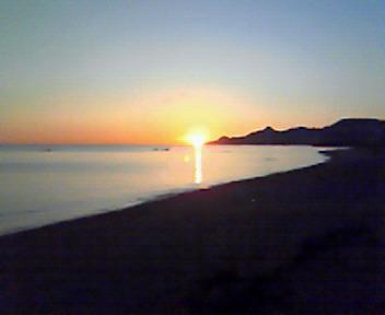 21世紀の森ビーチからの夕日